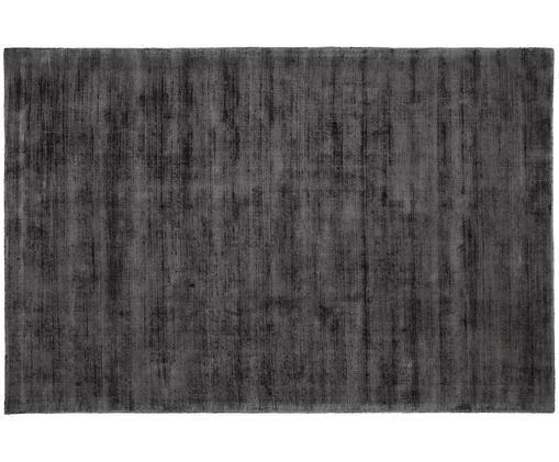 Ręcznie tkany dywan z wiskozy Jane, Antracytowoczarny, S 200 x D 300 cm