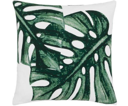 Federa arredo con stampa monstera Tropics, Cotone, Verde, bianco, Larg. 40 x Lung. 40 cm