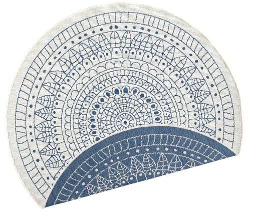 Tappeto reversibile da interno-esterno Porto, Blu, color crema, Ø 200 cm