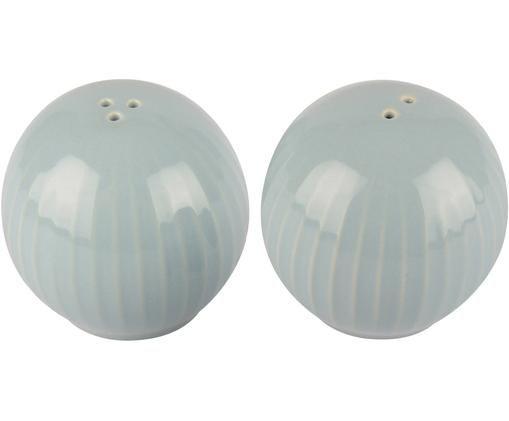 Komplet solniczki i pieprzniczki Eggy, 2 elem., Kamionka, Niebieski, Ø 6 x W 6 cm