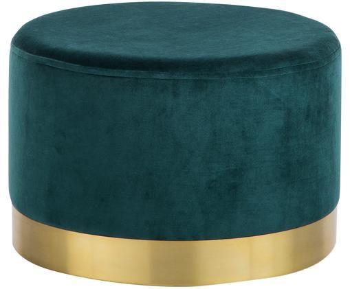 Fluwelen poef Harlow, Bekleding: katoen fluweel, Voet: gepoedercoat ijzer, Petrolkleurig, goudkleurig, Ø 60 x H 40 cm