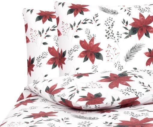 Perkal-Bettwäsche Carol mit Amaryllis Print, Weiß, Rot, Grün