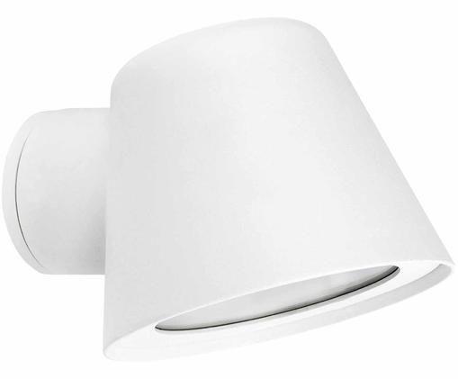 Applique piccolo da esterno Gina, Lampada: alluminio verniciato a po, Bianco, Larg. 12 x Alt. 9 cm