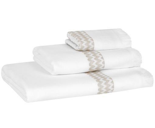 Lot de serviettes de bain Ella, 3élém., Blanc, taupe