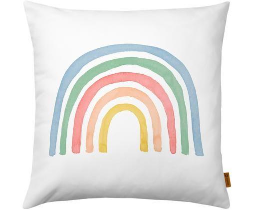 Kissenhülle Rainbow, Baumwolle, Weiß, Mehrfarbig, 40 x 40 cm
