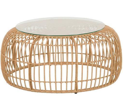 Garten-Couchtisch Costa mit Kunststoff-Geflecht, Tischplatte: Glas, Gestell: Polyethylen-Geflecht, Hellbraun, Ø 85 x H 42 cm