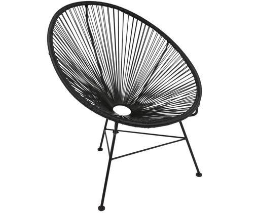 Loungesessel Bahia aus Kunstgeflecht, Kunststoff: Schwarz. Gestell: Schwarz