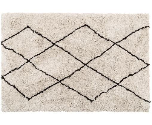 Flauschiger Hochflor-Teppich Nouria, handgetuftet, Flor: 100% Polyester, Beige, Schwarz, B 120 x L 180 cm (Größe S)