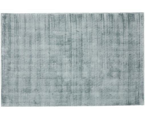 Tappeto in viscosa tessuto a mano Jane, Vello: 100% viscosa, Retro: 100% cotone, Blu ghiaccio, Larg. 160 x Lung. 230 cm