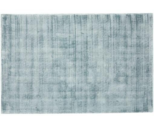 Handgeweven viscose vloerkleed Jane, Bovenzijde: 100% viscose, Onderzijde: 100% katoen, IJsblauw, 160 x 230 cm