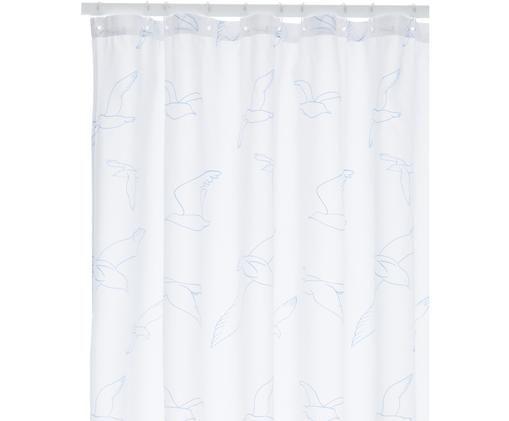 Duschvorhang Birdie mit gezeichneten Vögeln, Polyester Wasserabweisend, nicht wasserdicht, Weiß, Hellblau, 180 x 200 cm