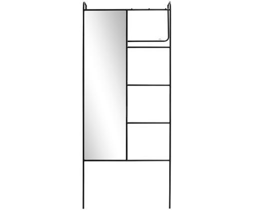 Wieszak ścienny z lustrem Marianna, Czarny, lustrzany, S 80 x W 190 cm