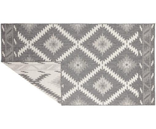 Dubbelzijdig in- & outdoor vloerkleed Malibu in ethno stijl, grijs-wit, Grijs, crèmekleurig