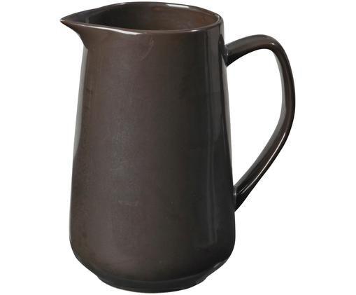 Ręcznie wykonany dzbanek do mleka Esrum Night, Kamionka szkliwiona, Szarobrązowy, matowy, srebrzysty, lśniący, Ø 8 x W 16 cm