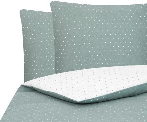 Flanell-Wendebettwäsche Betty, gepunktet, Webart: Flanell, Salbeigrün, Weiß, 240 x 220 cm