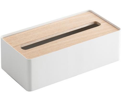 Pudełko na chusteczki Rin, Biały, brązowy, S 26 x W 8 cm