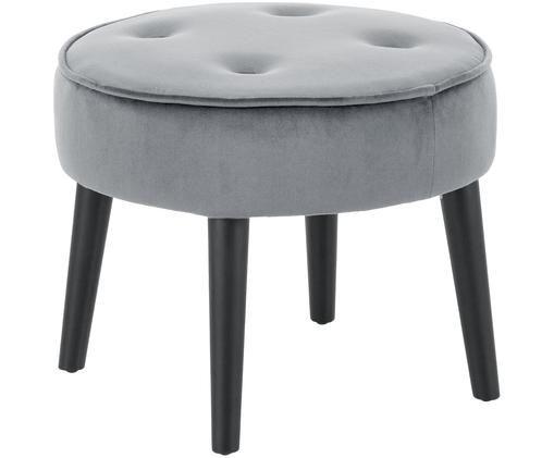 Sgabello in velluto Hanna, Rivestimento: grigio. Piedini: nero