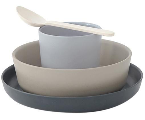 Set per la colazione in bambù Miku 4 pz, Fibra di bambù, melamina, adatto per alimenti Senza BPA, PVC e ftalati, Grigio, beige, blu, bianco crema, Diverse dimensioni