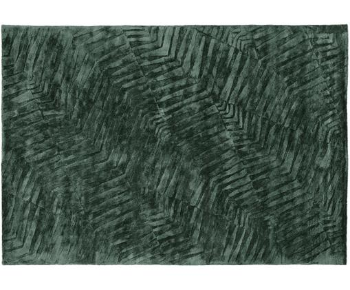 Tappeto in viscosa taftato a mano Leaf, Vello: 100% viscosa, Retro: 100% cotone, Verde scuro, Larg. 200 x Lung. 300 cm (taglia L)