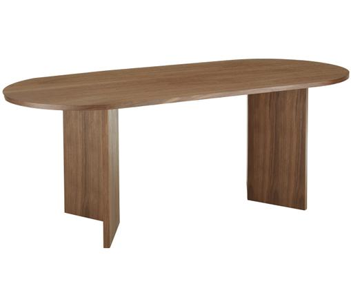 Table ovale en bois Joni, Placage de noyer