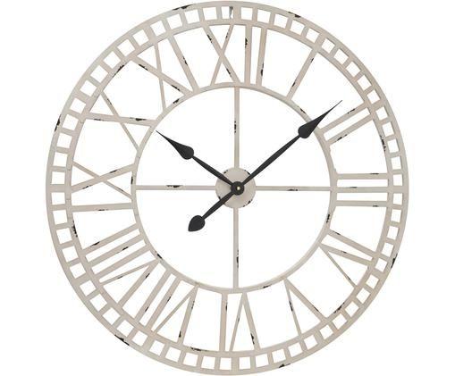Wanduhr Solero, Metall, beschichtet, Gebrochenes Weiß, Schwarz, Ø 78 cm