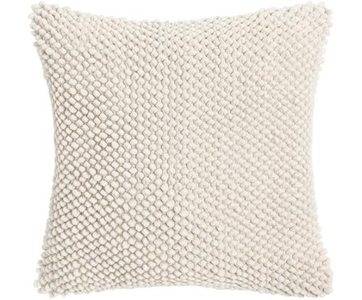 Kissenhülle Indi mit weicher Strukturoberfläche, Baumwolle, Gebrochenes Weiß, 45 x 45 cm