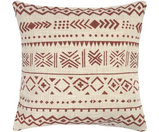 Kissenhülle Masai mit grafischem Muster, Baumwolle, Gebrochenes Weiß, Braun, 45 x 45 cm