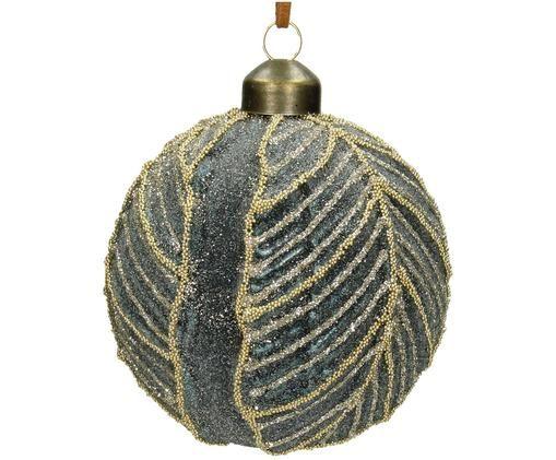 Palla di Natale Leaf, 2 pz., Grigio blu