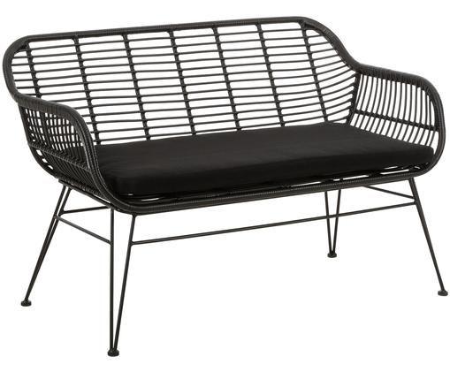 Garten-Sitzbank Costa mit Kunststoff-Geflecht, Sitzfläche: Polyethylen-Geflecht, Gestell: Metall, pulverbeschichtet, Schwarz, B 126 x T 68 cm