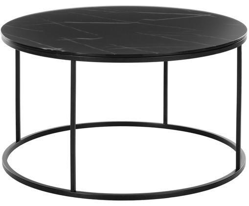 Couchtisch Antigua mit marmorierter Glasplatte, Tischplatte: Glas, matt bedruckt, Gestell: Stahl, pulverbeschichtet, Schwarz-grau marmoriert, Schwarz, Ø 80 x H 45 cm