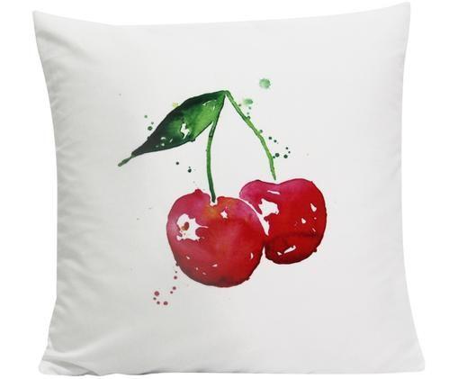 Federa arredo  reversibile Cherry, Poliestere, Bianco, rosso, verde, Larg. 45 x Lung. 45 cm