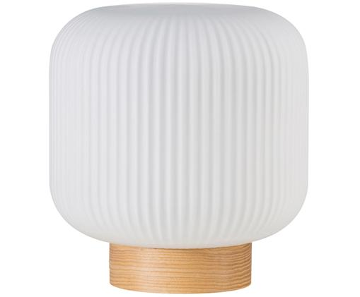Tischleuchte Milford, Lampenschirm: Opalglas, Lampenfuß: Holz, Opalweiß, Holz, Ø 20 x H 21 cm