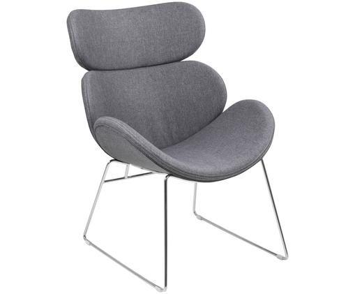 Fotel wypoczynkowy Cazar, Tapicerka: poliester, Stelaż: metal chromowany, Jasny szary, chrom, S 69 x G 79 cm