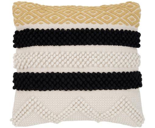 Kussenhoes Takala, 80% katoen 20% polyester, Ecru, zwart, geel, 45 x 45 cm