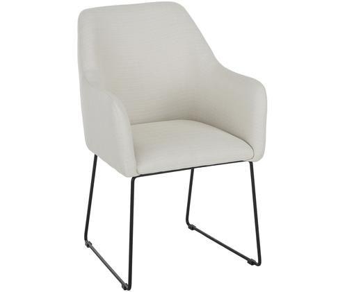 Sedia con braccioli Isla, Rivestimento: poliestere 50.000 cicli d, Gambe: metallo verniciato a polv, Bianco crema, Larg. 58 x Prof. 62 cm