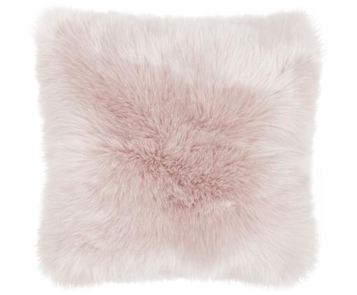 Federa arredo in ecopelliccia Mathilde, Retro: 100% poliestere, Rosa, Larg. 40 x Lung. 40 cm