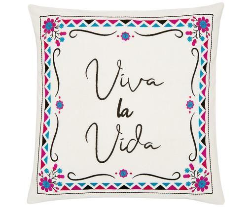Haftowana poszewka na poduszkę Viva la Vida, Bawełna, Kremowobiały, wielobarwny, S 45 x D 45 cm