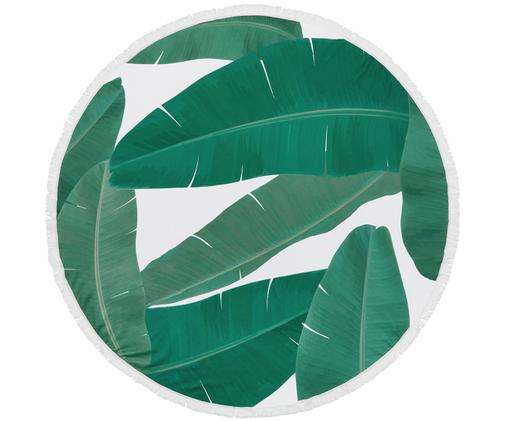 Ręcznik plażowy Banan, 55% poliester, 45% bawełna Bardzo niska gramatura 340 g/m², Zielony, biały, Ø 150 cm