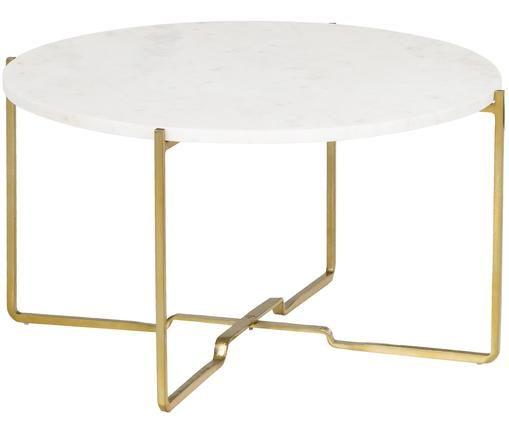 Runder Marmor-Beistelltisch Margot, Tischplatte: Weiß-Grauer MarmorGestell: Goldfarben, matt
