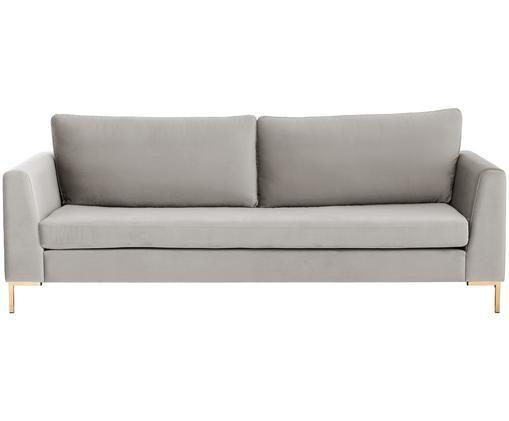 Samt-Sofa Luna (3-Sitzer), Bezug: Samt (Polyester) 80.000 S, Gestell: Massives Buchenholz, Füße: Metall, galvanisiert, Beige, B 230 x T 95 cm