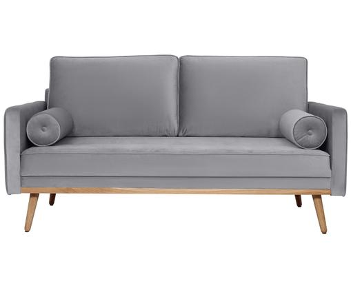 Sofa z aksamitu Saint (2-osobowa), Tapicerka: aksamit (poliester) 3500, Stelaż: masywne drewno sosnowe, p, Tapicerka: szary Nogi i rama: drewno dębowe, S 169 x G 87 cm