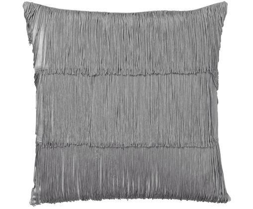 Federa arredo in velluto Annie, Frange: 100% viscosa, Grigio argento, P 50 x L 50 cm