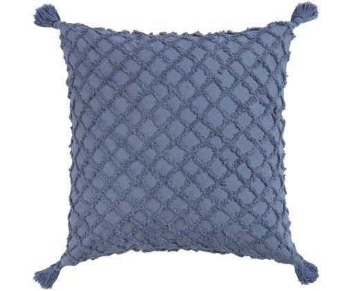 Kissenhülle Royal mit Hoch-Tief-Muster, Baumwolle, Blau, 45 x 45 cm