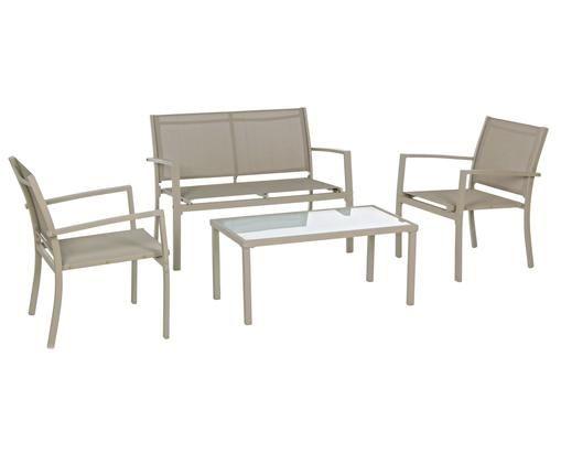 Garten-Lounge-Set Trent, 4-tlg., Gestell: Aluminium, pulverbeschich, Sitzfläche: Textil, Tischplatte: Glas, Taupe, Sondergrößen