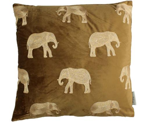 Coussin en velours brun à broderies dorées Elephant, Brun, couleur dorée