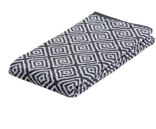 Toalla de ducha Diamond, Gris oscuro, blanco, An 70 x L 140 cm