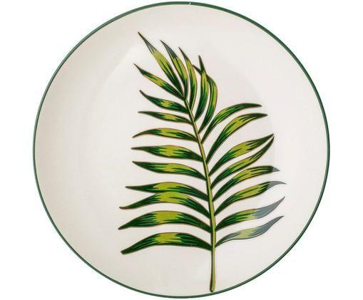 Assiette plate Moana, Vert, blanc