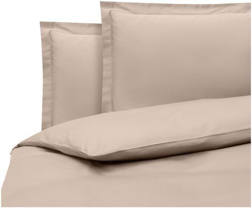 Parure copripiumino in raso di cotone Premium, Tessuto: raso, leggermente lucido, Taupe, 255 x 200 cm