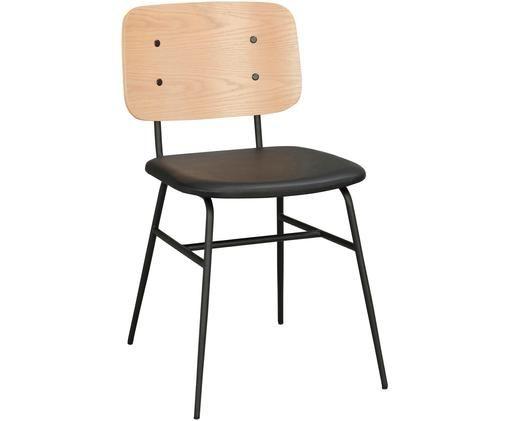 Sedia in legno Brent, Seduta: similpelle (poliuretano), Struttura: metallo verniciato, Legno di quercia, nero opaco, Larg. 47 x Prof. 57 cm