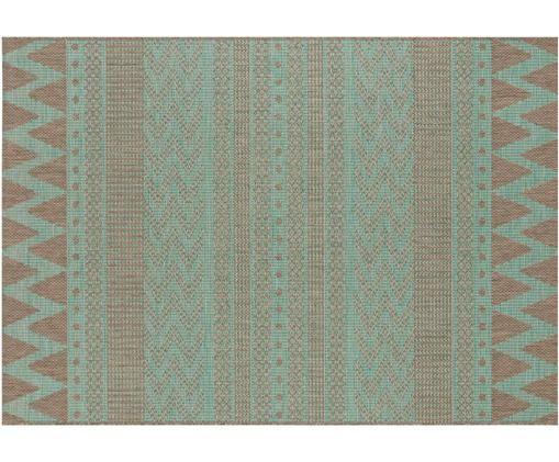 In- und Outdoorteppich Sidon mit grafischem Muster, Polypropylen, Grün, Taupe, B 140 x L 200 cm (Größe S)